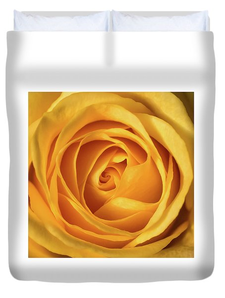 Duvet Cover featuring the photograph Mellow Yellow Rose Square by Terry DeLuco