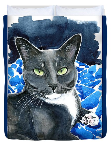 Melo - Blue Tuxedo Cat Painting Duvet Cover