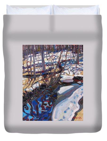 Melt Water And Ice At The Forest Edge Duvet Cover