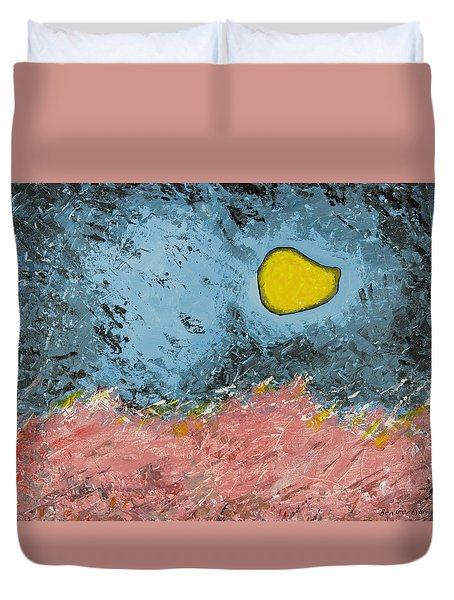 Duvet Cover featuring the painting Melting Moon Over Drifting Sand Dunes by Ben Gertsberg