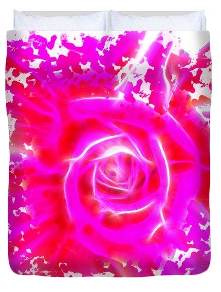 Melting Pink Rose Fractalius Duvet Cover