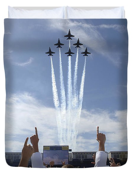Duvet Cover featuring the photograph Members Of The U.s. Naval Academy Cheer by Stocktrek Images