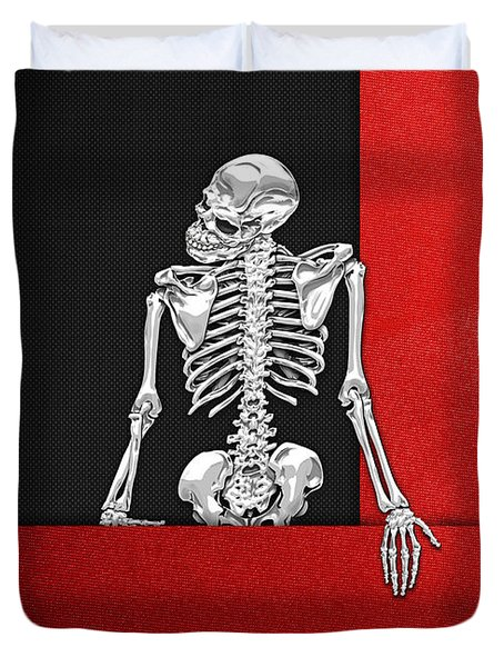 Memento Mori - Skeleton On Red And Black  Duvet Cover by Serge Averbukh