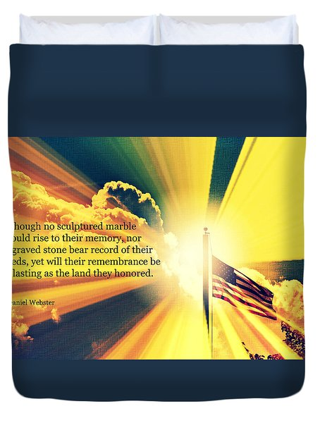 Duvet Cover featuring the photograph Memorial Day Quotation Art Iv by Aurelio Zucco