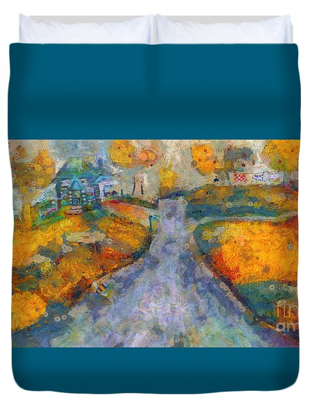 Duvet Cover featuring the painting Memories Of Home In Autumn by Claire Bull