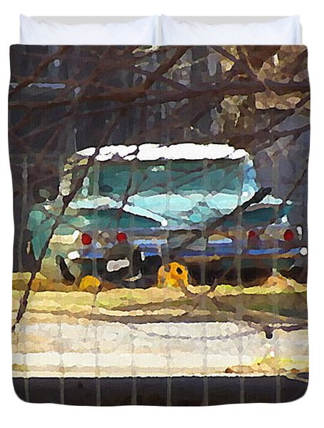 Memories Of Old Blue, A Car In Shantytown.  Duvet Cover