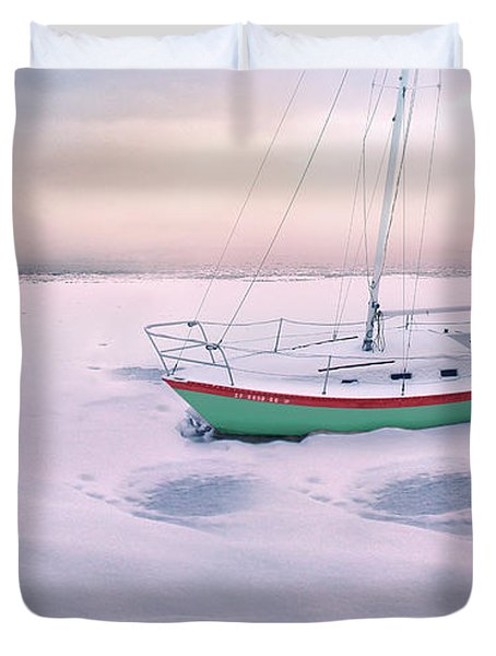 Duvet Cover featuring the photograph Memories Of Seasons Past - Prisoner Of Ice by John Poon