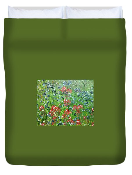 Memories Of Texas Everythings Better With Blue Bonnets On It Duvet Cover by Debbie