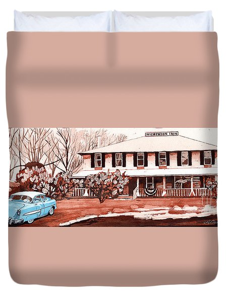 Memories Of The Nickerson Inn Duvet Cover by LeAnne Sowa