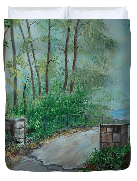Duvet Cover featuring the painting Memory Bridge by Leslie Allen