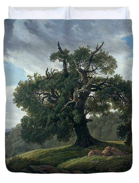 Memory Of A Wooded Island In The Baltic Sea. Oak Trees By The Sea  Duvet Cover