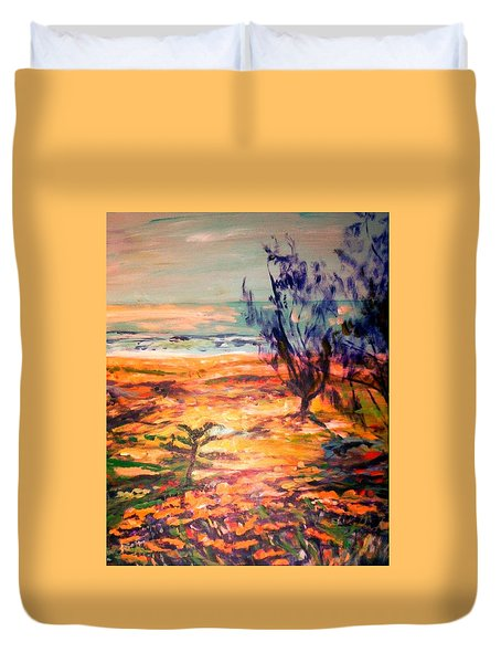 Duvet Cover featuring the painting Memory Pandanus by Winsome Gunning