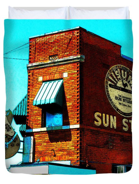 Memphis Sun Studio Birthplace Of Rock And Roll 20160215sketch Sq Duvet Cover