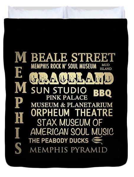 Memphis Tennessee Famous Landmarks Duvet Cover
