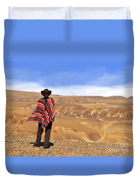 Man In A Poncho In The Desert Duvet Cover