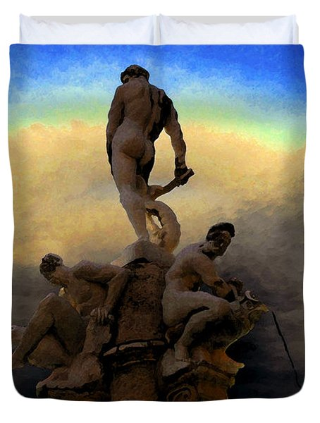Men Of Greece Duvet Cover by David Lee Thompson