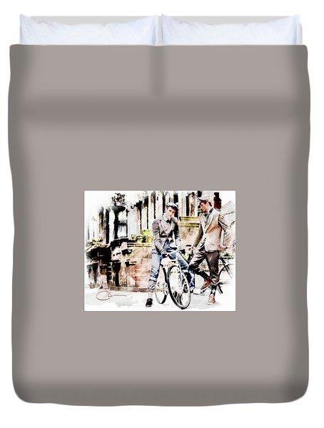Men On Bikes Duvet Cover