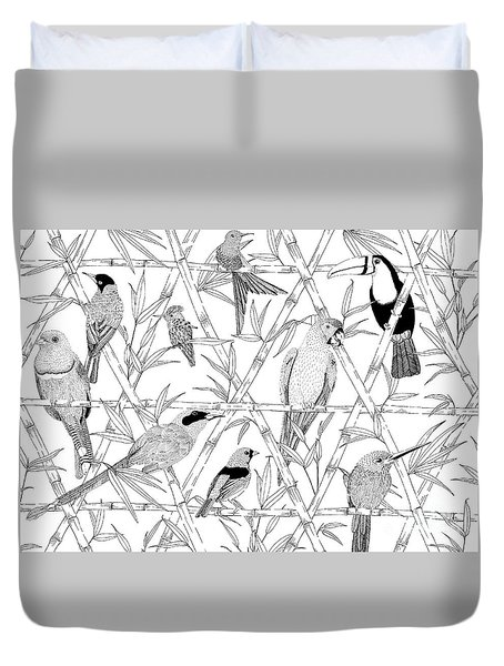 Menagerie Black And White Duvet Cover by Jacqueline Colley