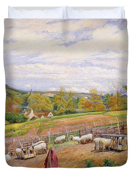 Mending The Sheep Pen Duvet Cover by William Henry Millais