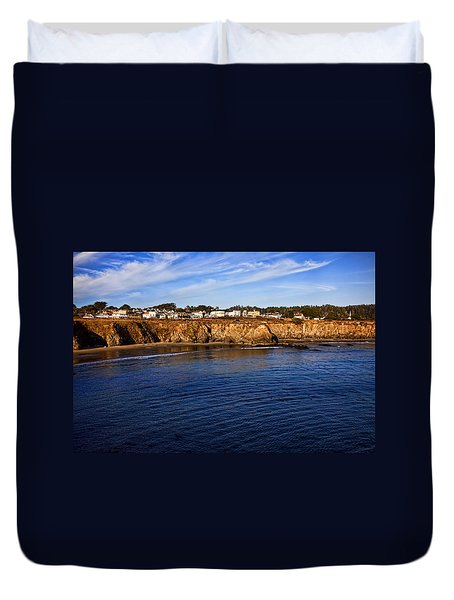 Mendocino Coastal Town Duvet Cover by Garry Gay