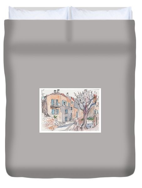Duvet Cover featuring the painting Menerbes by Tilly Strauss