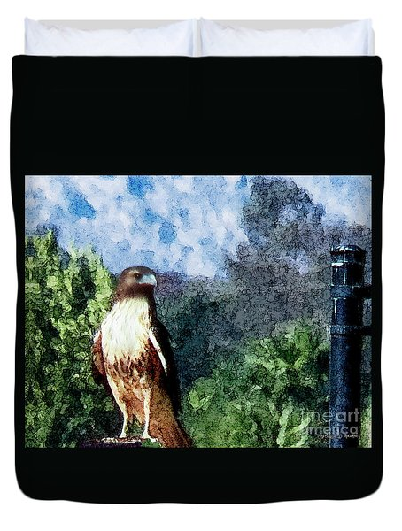 Duvet Cover featuring the photograph Menifee Falcon by Rhonda Strickland