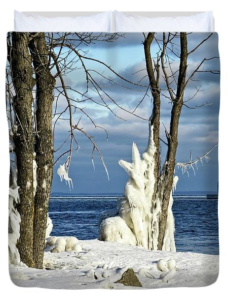 Menominee Lighthouse Ice Sculptures Duvet Cover