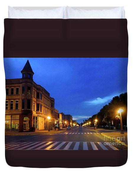 Menominee Michigan Night Lights Duvet Cover