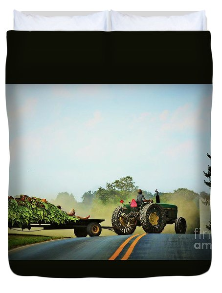 Menonnite Tobacco Farmer And Wife Duvet Cover