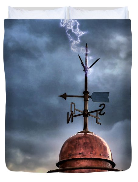 Menorca Copper Lighthouse Dome With Lightning Rod Under A Bluish And Stormy Sky And Lightning Effect Duvet Cover