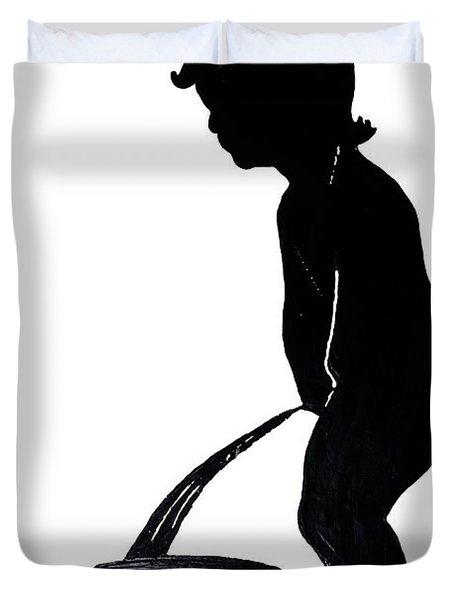 Mens Room Sign Silhouette Duvet Cover