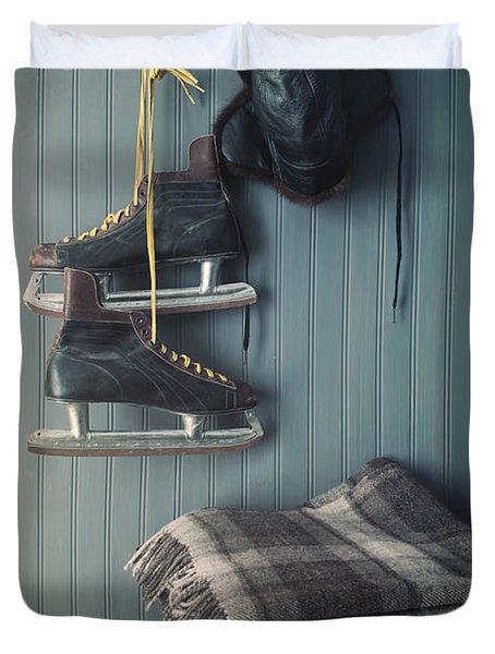 Men's Vintage Skates And Hat Hanging On Hook  Duvet Cover