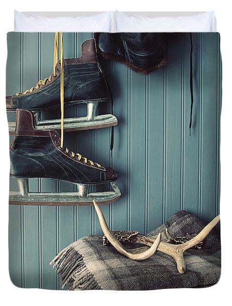 Men's Vintage Skates  Hanging On Hooks Duvet Cover