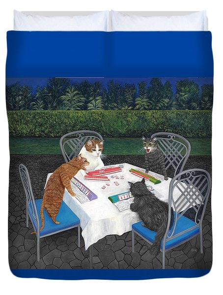 Duvet Cover featuring the painting Meowjongg - Cats Playing Mahjongg by Karen Zuk Rosenblatt
