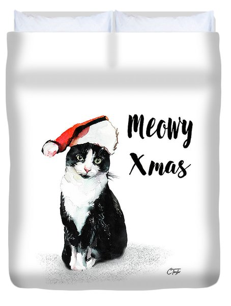 Duvet Cover featuring the painting Meowy Xmas by Colleen Taylor