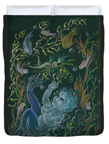 Merbaby Blue Duvet Cover by Dawn Fairies