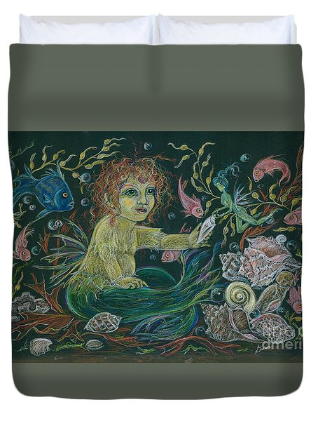 Merbaby Golden Green Duvet Cover by Dawn Fairies