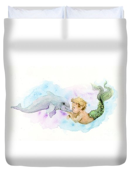 Duvet Cover featuring the painting Merboy Kiss by Lauren Heller