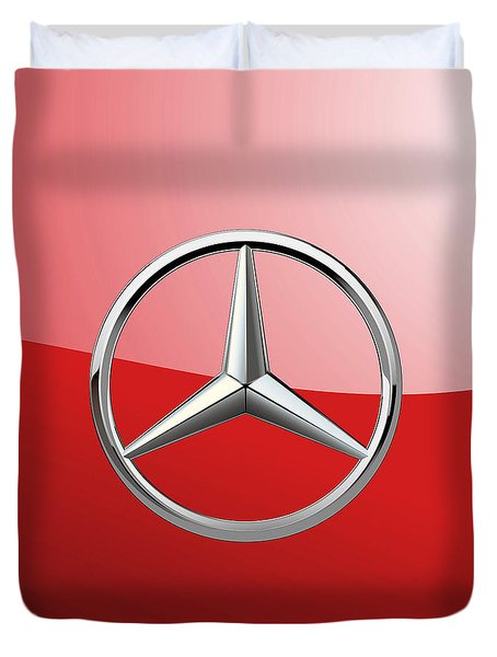 Mercedes-benz - 3d Badge On Red Duvet Cover