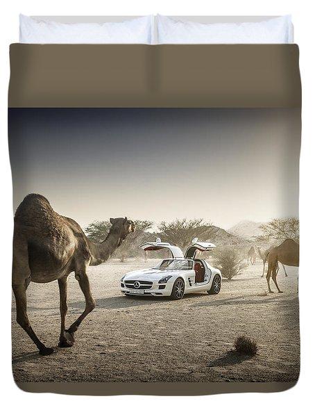 Mercedes Benz Sls With Camels In Saudi Duvet Cover