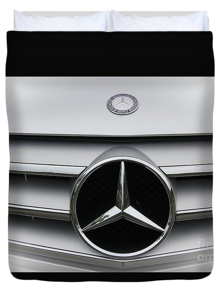 Duvet Cover featuring the photograph Mercedes Benz by Yumi Johnson