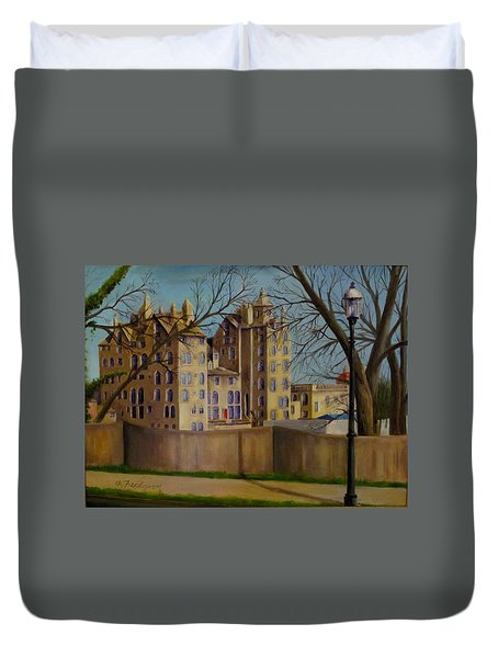 Duvet Cover featuring the painting Mercer Museum by Oz Freedgood