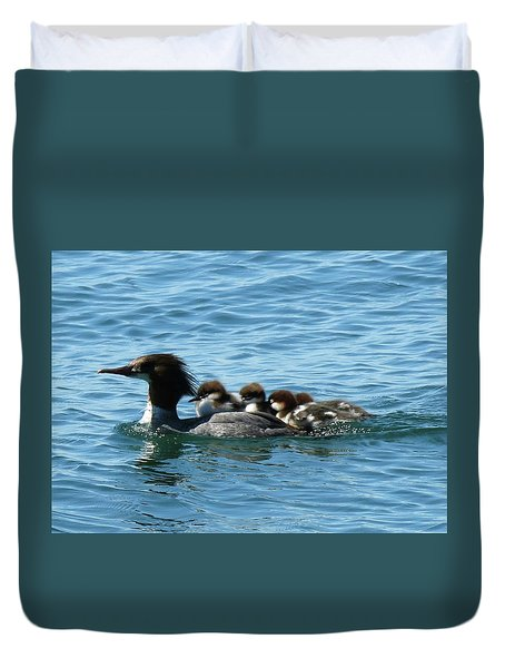 Merganser And Her Chicks Duvet Cover