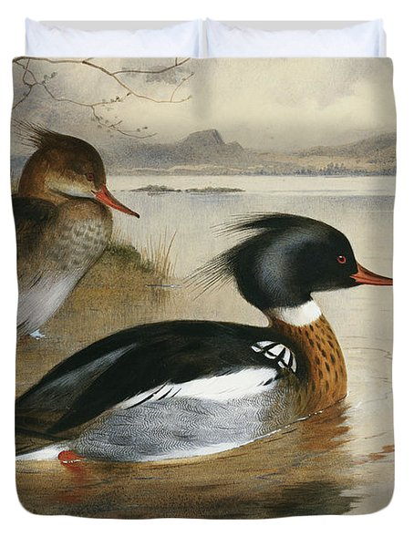 Mergansers, On Loch Maree Duvet Cover