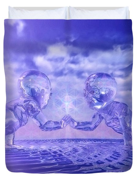 Duvet Cover featuring the painting Merkaba Babies by Robby Donaghey