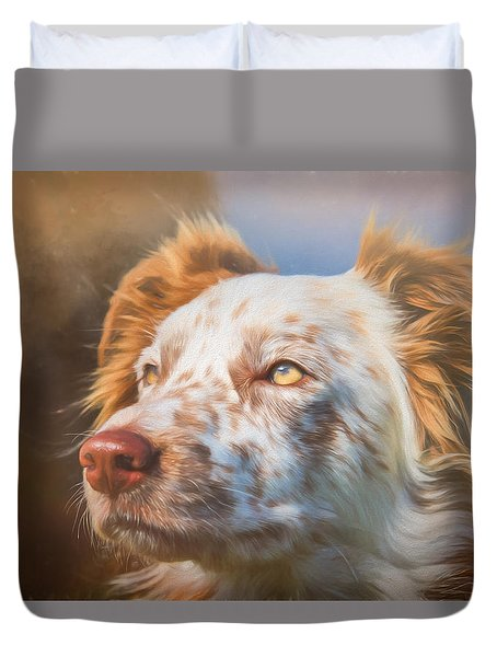 Duvet Cover featuring the photograph Merle Border Collie by Eleanor Abramson