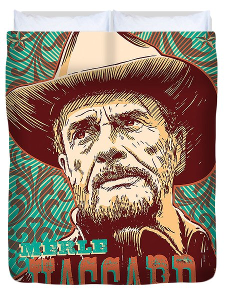 Merle Haggard Pop Art Duvet Cover