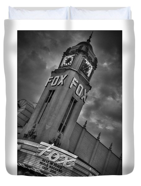 Merle Haggard Rip Fox Theater Black And White Duvet Cover
