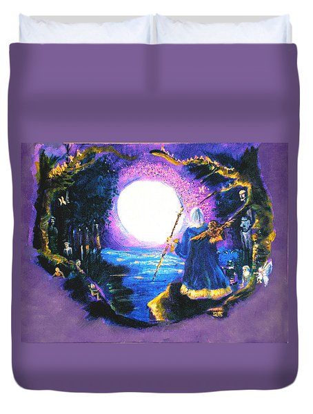 Duvet Cover featuring the painting Merlin's Moon by Seth Weaver