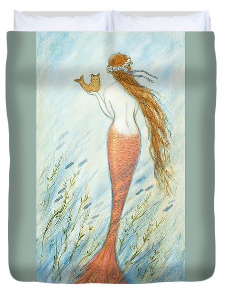 Mermaid And Her Catfish, Goldie Duvet Cover by Tina Obrien